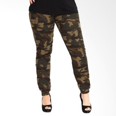 JCFASHION Big Size Motif Loreng Army Celana Jogger Sweatpants Wanita