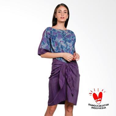Lombang Batik by Yati Law Tenun Tali Ikat Dress - Ungu