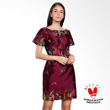Lombang Batik by Yati Law Ap Bordir Dress Batik - Ungu Tua