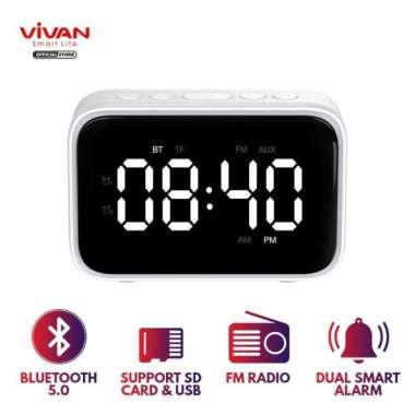 harga VIVAN vs5 dual smart alarm clock bluetooth 5,0 speaker with fm radio Blibli.com