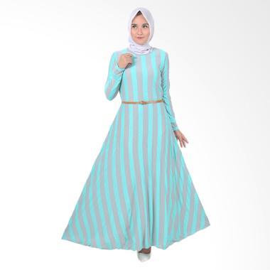 Jfashion Khanza Maxi Corak Salur Long Dress Gamis Wanita - Hijau