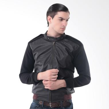 Alphawear Leather Comby Style Jaket Pria - Hitam