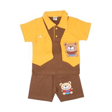TOMPEGE TP-5108 Setelan Baju Kerah Anak Laki-Laki - Coklat