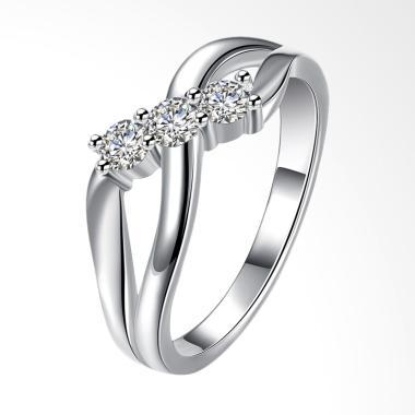 Bella & Co Party Ring SPCR879-8 Aksesoris Cincin Pesta Lapis Perak