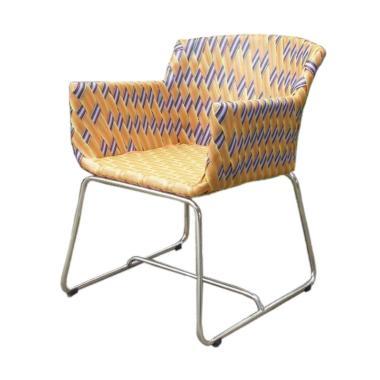 Pine Rotan Niki Arm Chair Kursi - Blue Orange Yellow