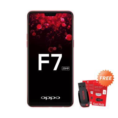 OPPO F7 Smartphone - Red [64 GB/ 4GB] + Free Flashdisk 16 GB