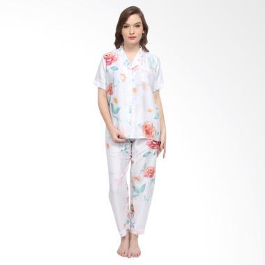 Madeleine Odelia Organic Long Setelan Baju Tidur - White Flower