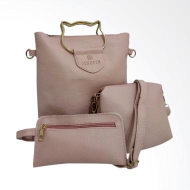 Jingpinpiju Classic 3in1 Set Tas Wanita - Pink
