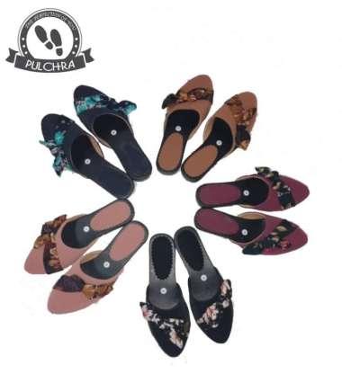 harga Jual sandal selop wanita ST400 kain bunga wedges heels cewek kantor - Hitam 37 Limited Blibli.com