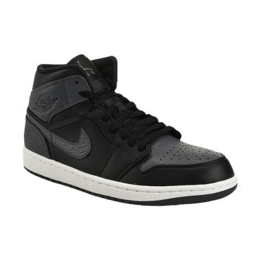 NIKE Men Basketball Air Jordan 1 Mi ... - Black Grey [554724-041]