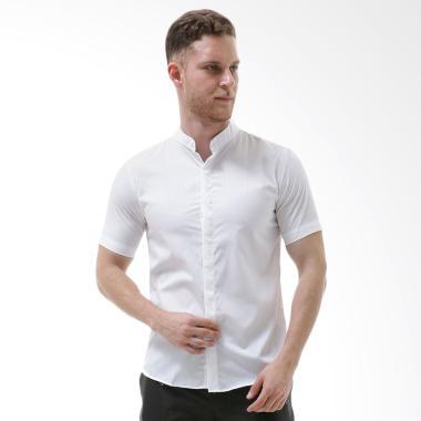 VM Kemeja Slimfit Baju Koko Tangan Pendek - Putih Polos