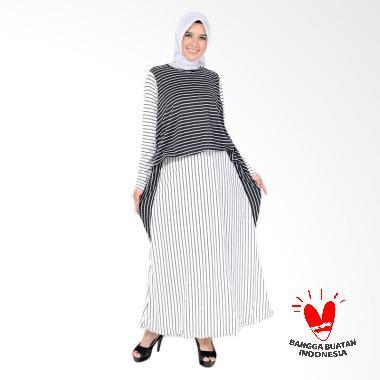 Jfashion Maxi Corak Salur Zuhairah Long Dress Gamis Wanita