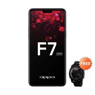 OPPO F7 Smartphone - Black [64GB/ 4GB] + Free SKMEI 1142A Jam Tangan