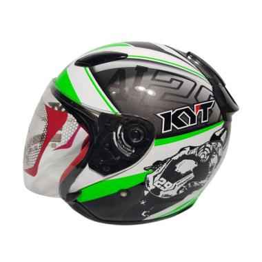 harga KYT DJ Maru SE World GP Ready Ximeon Helm Half Face - Green Fluo White