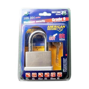 American Secure S931360 Grade 9 SUS 304 Series Short Gembok [60 mm]