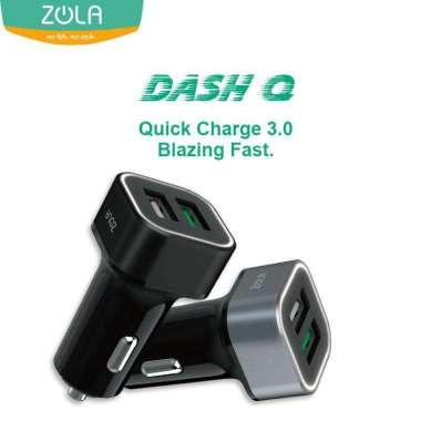 Car Charger ZOLA Dash Q - Quick Charge 3.0 Dual Output Ports 2.4A Black/Black