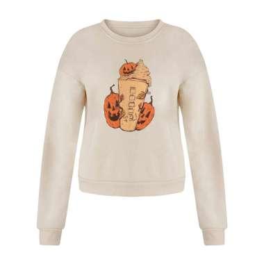 harga Women Halloween Sweatshirt Long Sleeve Casual Pullover Cream Pumpkin L Beige Blibli.com