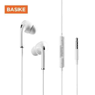 harga Headset Gaming handsfree BASIKE Earphone Bass Headphone 4D Drive Stereo Sound iPhone 13 12 11 10 8 6 7 MT32-1V - White Blibli.com