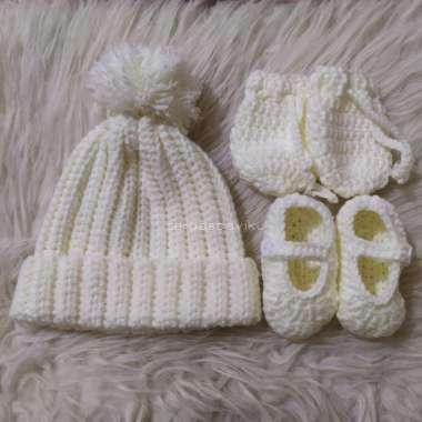 harga FREE ONGKIR topi bayi rajut putih sarung tangan sepatu mitten booties baby newborn - Putih Blibli.com