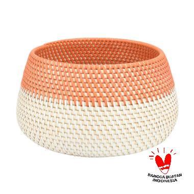 harga Kerajinan Lokal Rotan Warna Pot - Orange White [Size S] Blibli.com