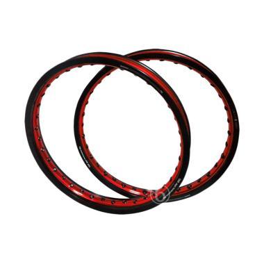 TDR WX Shape Dual Tone Ring 17 Rim Jari-Jari Set Velg Racing Motor - Hitam Merah [140 dan 160]