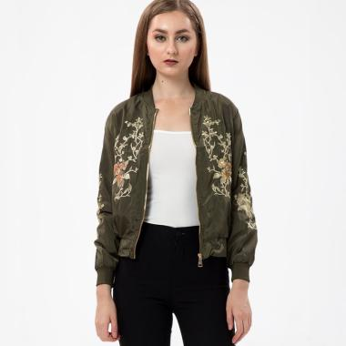 MKY Clothing Gold Embroidery Bomber Jacket - Green