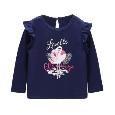 Mom n Bab Flamingo Long Tee Baju Atasan Anak Perempuan - Dark Blue