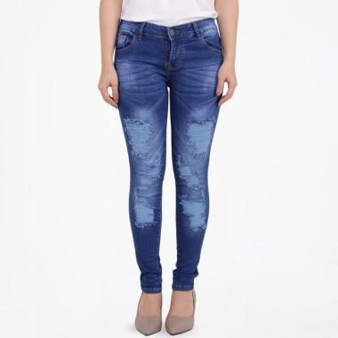 Brielle Jeans 1923 Ripped Skinny Jeans Celana Wanita - Biru