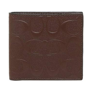 Coach Bifold Signature Embossed Coin Men's Wallet - Mahogany
