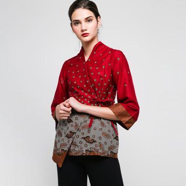 harga Batik Arjunaweda 18323118 Teruntum Beras Blouse Wanita - Merah Blibli.com