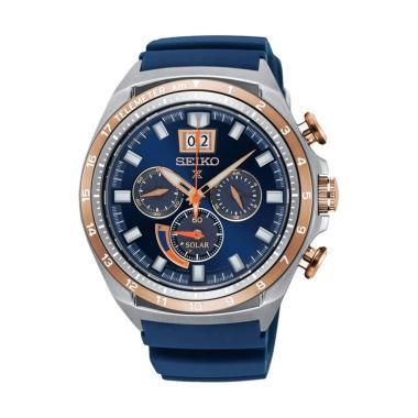 Seiko Prospex Sea Chronograph Dial Rubber Strap Jam Tangan Pria - Blue Silver [SSC666P1] Blue Silver