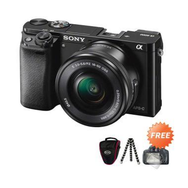 SONY Alpha A6000 Kit 16-50mm Kamera Mirrorless + Free ScreenGuard Terpasang + Tas Kamera Universal + Tripod Mini Flexible 01 Black