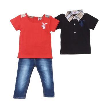 Mini Jeans Guard Plaid Collar 3in1 Setelan ...