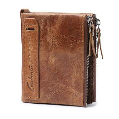 harga Bluelans Men Cowhide Leather Layer Bifold Wallet Credit ID Card Holder Coin Zipper Bag Brown Blibli.com