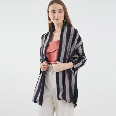 Berrybenka Carvena Stripe Outer Wanita - Black