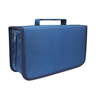 harga Bluelans DVD CD Holder Zipper Album Storage Case Wallet Carrying Bag Organizer - Blue [128 Discs] Blibli.com
