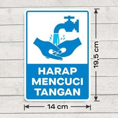 harga Sticker Sign Vinyl Stiker Marka Harap Mencuci Tangan 14 x 19,5 cm Biru Dasar Putih Blibli.com