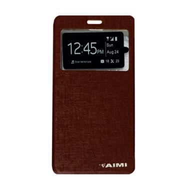 AIMI Flip Cover Casing for Vivo Y15 - Brown
