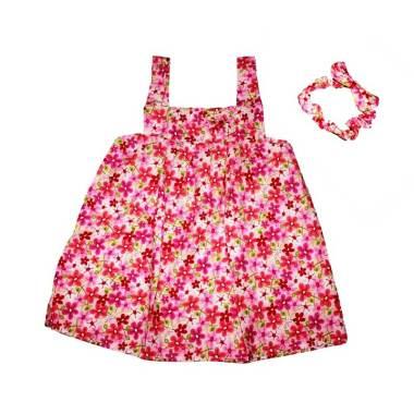 Pesona Sakura Flower Dress Anak with Headband - Pink