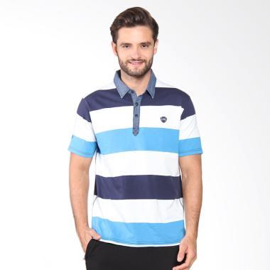 LGS Men Slim Fit Motif Garis Kaos P ... Putih JTS.324.M1986F.01.C