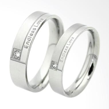 CDHJewelry Cincin Couple Titanium Anti Karat CC002 (Female 7 & Male 9)