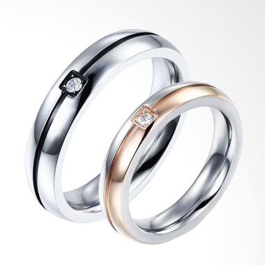 CDHJewelry CC090 Titanium Anti Karat Cincin Couple [Female 7 & Male 9]