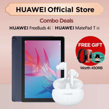 Combo Deals | Huawei Matepad T10 + Huawei Freebuds 4i l FREE BAND 4e + FREEBUDS 4i CASE | Tablet | Earphone Deep Sea Blue + Ceramic White