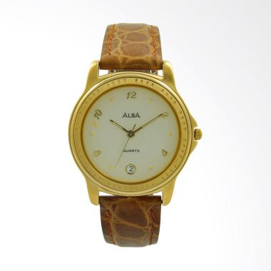 Alba Leather Strap Jam Tangan Pria - Brown Gold ATXT60