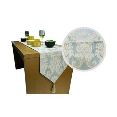 Hermosa Table Runner Flower Blue Cream 210x32cm