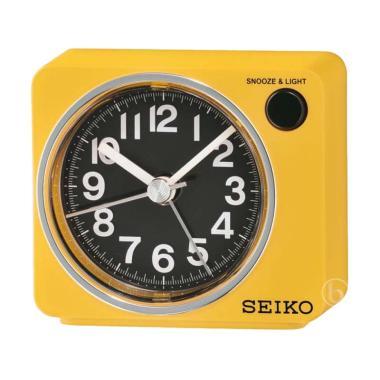 Seiko QHE100L Quiet Sweep LED Flash Beep Alarm Clock - Yellow