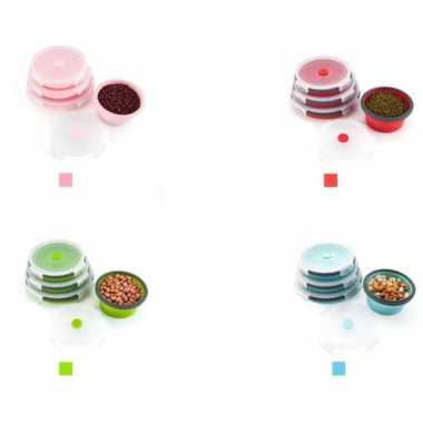 harga Lunch box lipat Bahan Silikon / Kotak Makan Siang Microwave Lipat bulat portable serbaguna Dengan Tutup Wheat straw box Pink