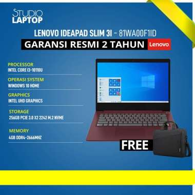 harga LENOVO Ideapad Slim 3i-14IML05 - i3-10110U - WIN10+OHS [81WA00F1ID] Biru Blibli.com