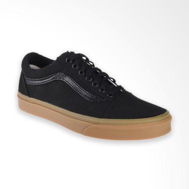 Vans U Old Skool Canvas Gum Sneaker Shoes Pria - Black Light Gum