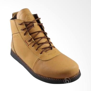 Bradley's Bradleys Brodo Anubis Kulit Sepatu Boots Pria Bradley - Tan